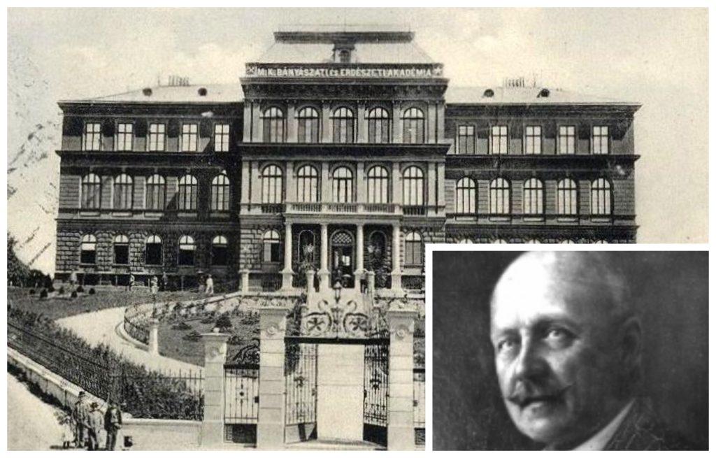 Vadas Jenő, valamint a selmeci akadémia épülete