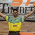 Laurence O'Toole of Australia during celebrates after he bacame the new World Champion during the STIHL TIMBERSPORTS® Individual World Championship at the Echo Arena in Liverpool, Great Britain on October 20, 2018.