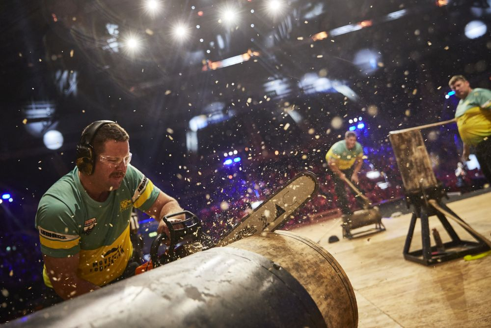 Team Australia competes during the STIHL TIMBERSPORTS® Team World Championship at the Echo Arena in Liverpool, Great Britain on October 19, 2018.