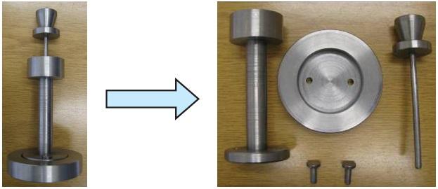 1. ábra A tömörödési vizsgálatok elvégzéséhez szükséges nyomófej (nyomófej átmérője 6mm)