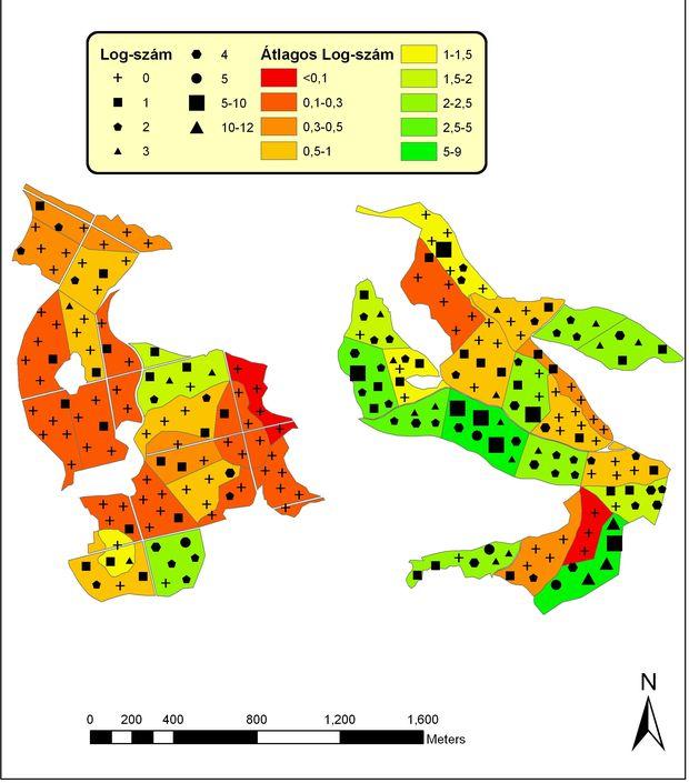 A fekvő vastag holtfa (log) mintavételi pontonként számolt értékei és a TERMERD-vizsgálat területegységeiben kalkulált átlagos értékek a Pilis-tető és az Erdőanyai-völgy területen (Standovár Tibor és Szmorad Ferenc munkája)
