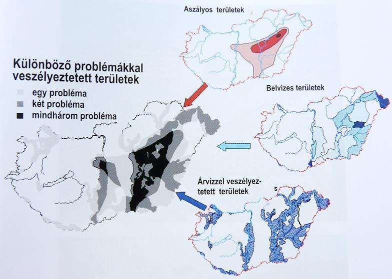 2. kép: Árvízzel, belvízzel és aszállyal veszélyeztetett területek Magyarországon (forrás: Láng et al., 2007)