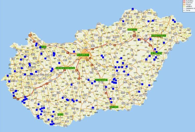 1. ábra: A Magyarországon található fás szárú ültetvények elhelyezkedése település szerint - 2012 (forrás: Vágvölgyi, 2013)