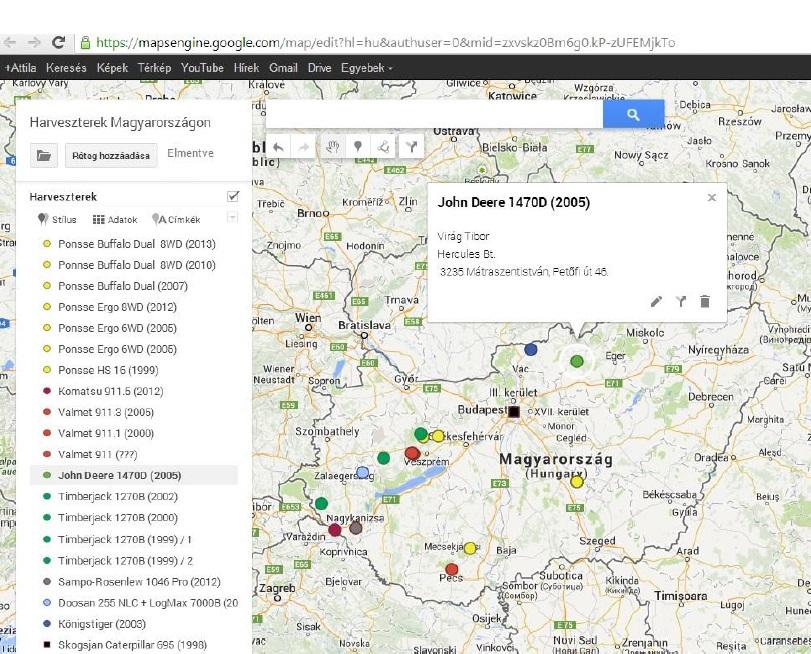 2. ábra: Harveszter térkép és adatbázis (Készítette: Horváth Attila)