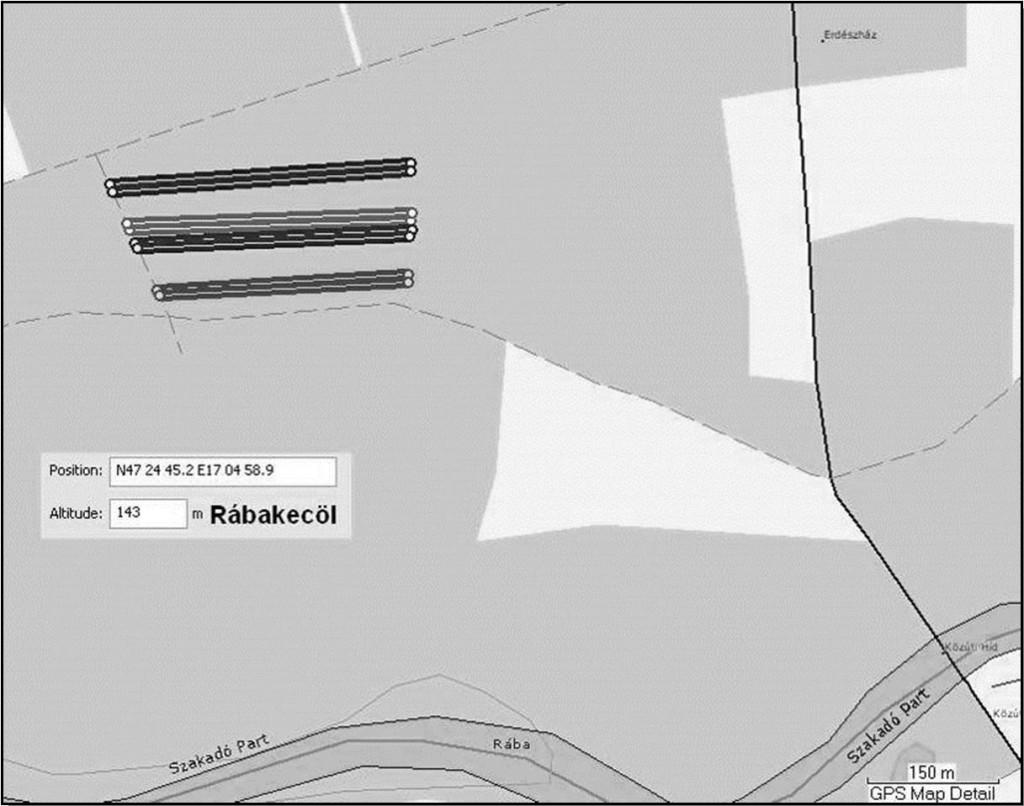 1. ábra: A kísérleti terület vázrajza és mintasorai