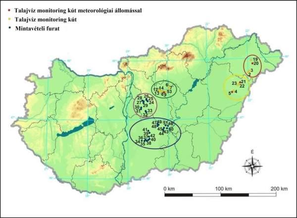 1. ábra: A mintaterületek elhelyezkedése az Alföldön. Mintavételi régiók: A: Nyírség, B: Hajdúság, C: Jászság, D: Kiskunság, E: Közép-Duna vidék