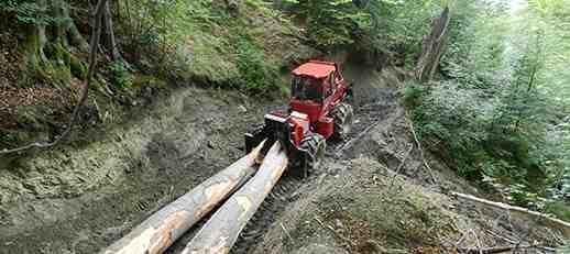 Alser a német vonszolót gyártó Noe vállalat romániai viszonteladója - A képen egy NF 140 óriási bükk törzseket vonszol a lejtőn. (Fotó: Alser Forest)
