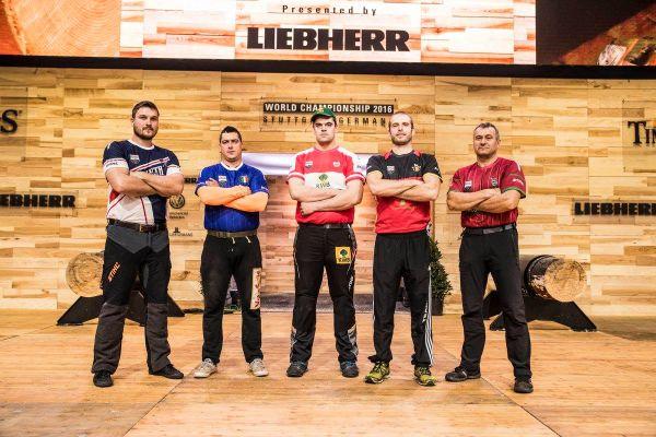 A legjobb öt versenyző - Balra: Juhász István - Forrás: STIHL Timbersports USA Facebook oldal