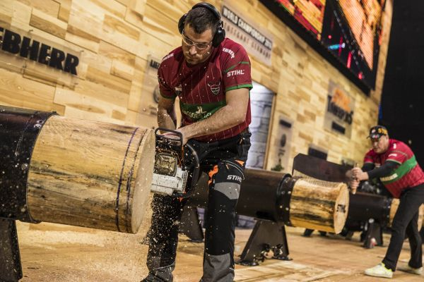Team Hungary performs during the Team qualification of the Stihl Timbersports World Championships at the Porsche-Arena in Stuttgart, Germany on November 11, 2016.