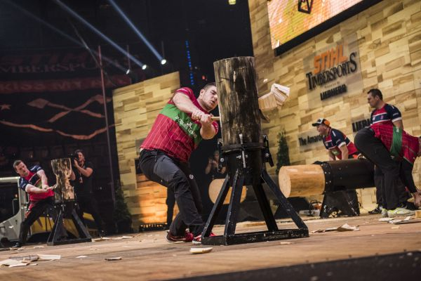 Team Hungary performs during the Team Competition of the Stihl Timbersports World Championships at the Porsche-Arena in Stuttgart, Germany on November 11, 2016.