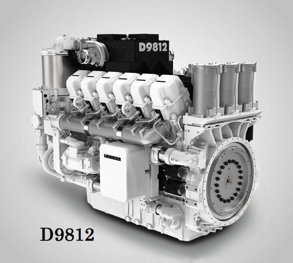 1. kép: Liebherr D9812 típusjelzésű dízelmotor