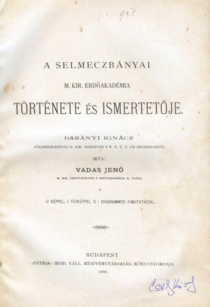 Vadas Jenő egyik kötete a szerző könyvtárából