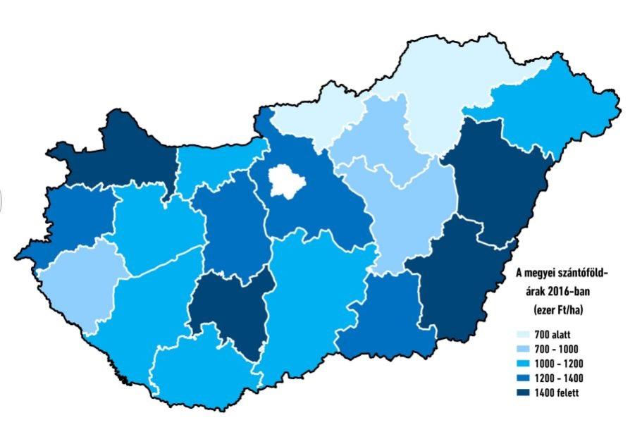 A szántóföldek átlagárai 2016-ban Magyarország egyes megyéiben (Forrás: TAKARÉK Termőföldindex)