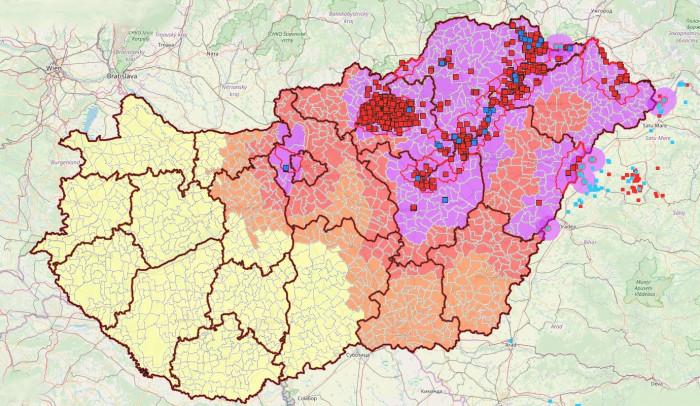 Aktuális kockázati és fertőzött területek Magyarországon Forrás: NÉBIH (2019. október 29.) (Rózsaszín: fertőzött terület - Piros: Magas kockázatú terület - Narancssárga: közepes kockázatú terület - Citromsárga: alacsony kockázatú terület)   (Jelölők: Piros: vaddisznó; Kék: vaddisznó legutóbbi esetek; Világoskék: külföldi házisertés)