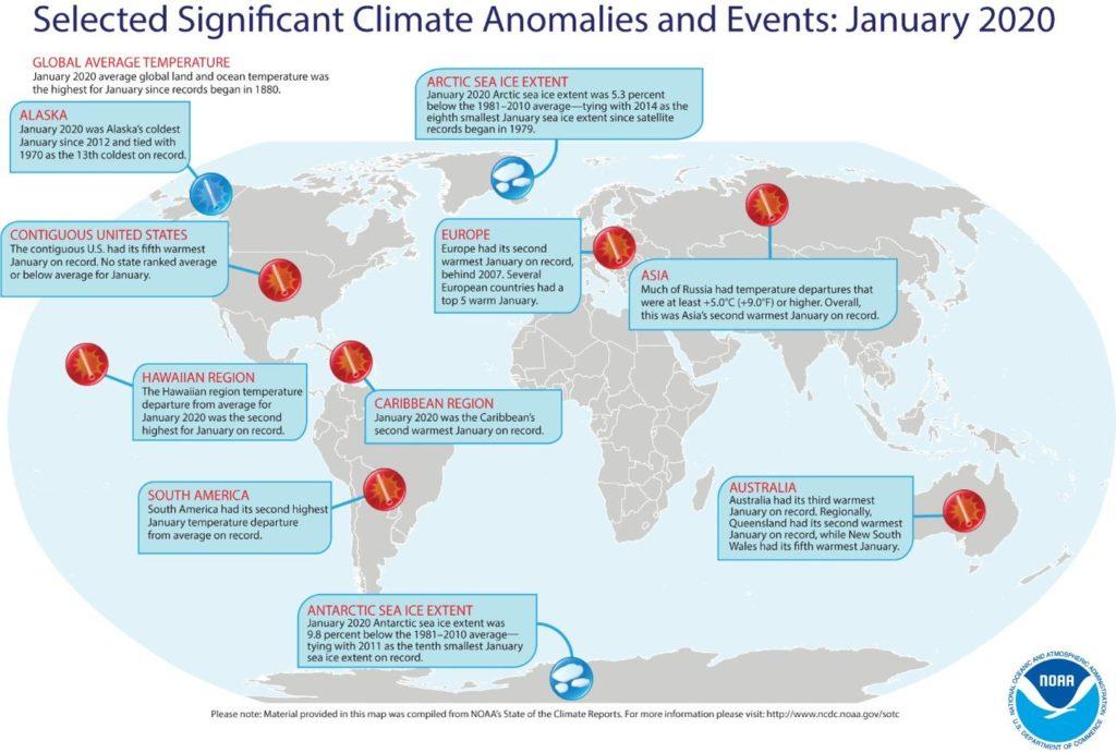 1. ábra: Jelentős éghajlati anomáliák és kiemelt éghajlati események 2020 januárjában