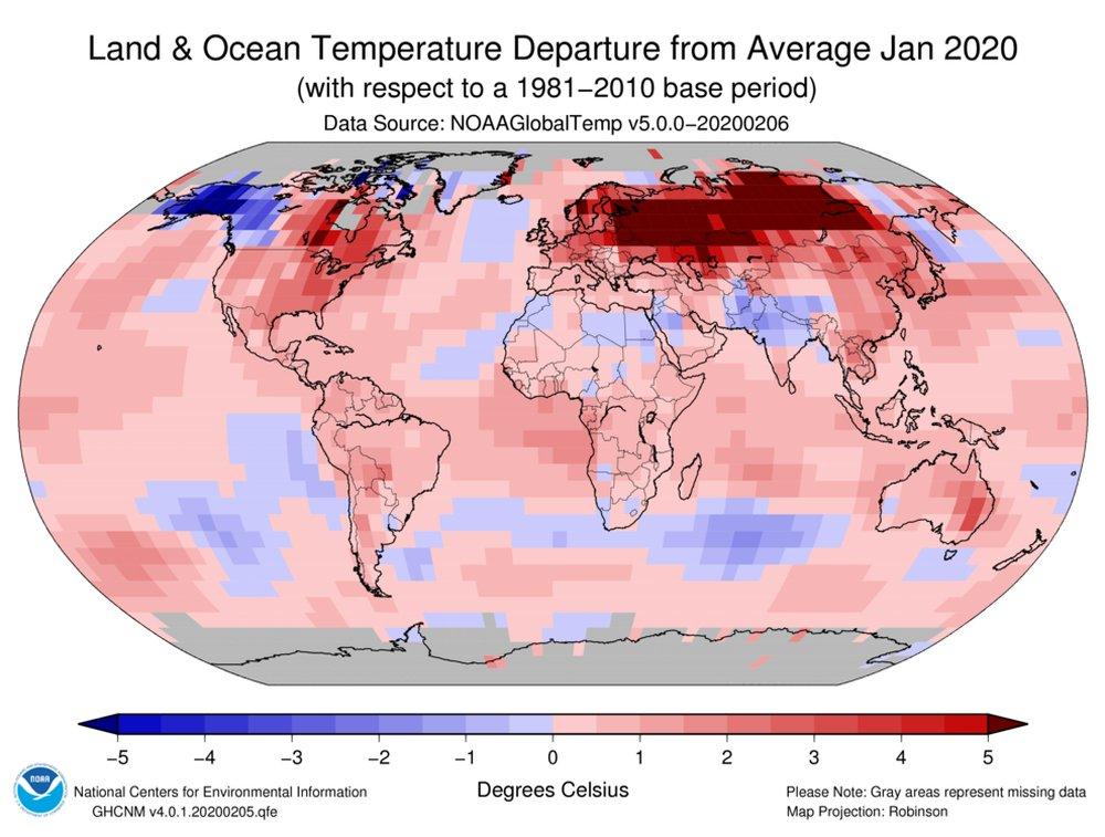2. ábra: A januári átlaghőmérséklet eltérése az 1981–2010-es átlagtól