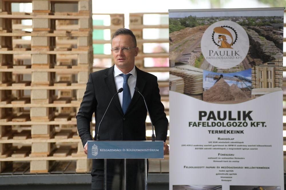 Szijjártó Péter külgazdasági és külügyminiszter beszédet mond a Paulik Fafeldolgozó Kft. beruházástámogatási okiratának átadásán Nyíradonyban 2020. augusztus 25-én. MTI/Balázs Attila